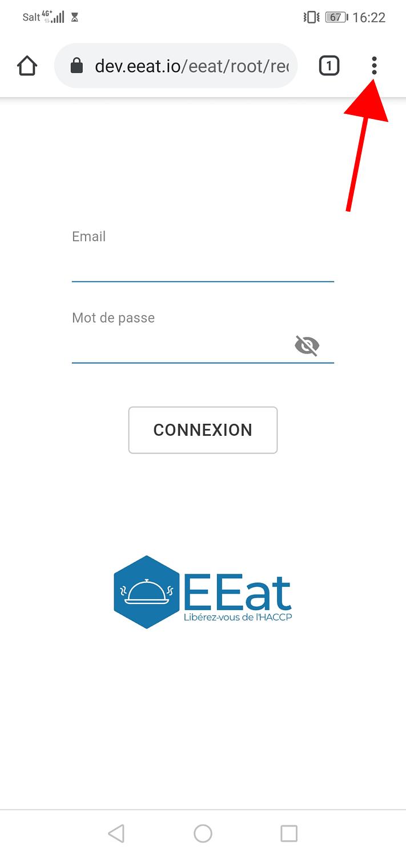 Vue EEat avec appareil android